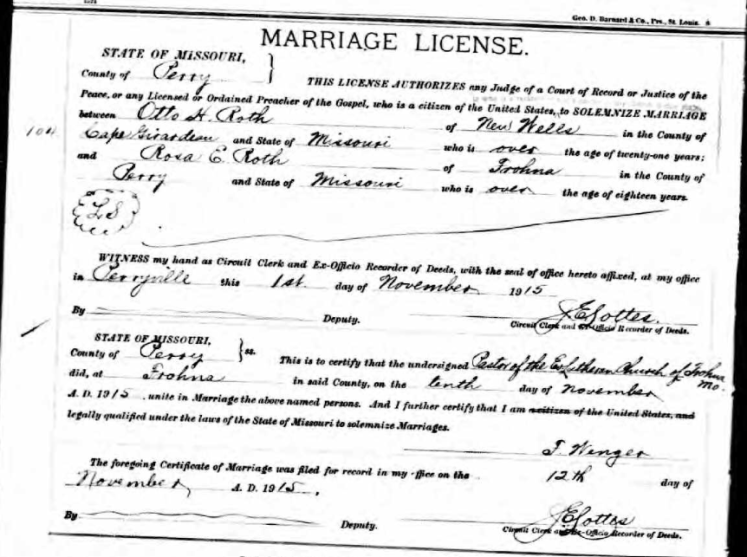Otto Roth Rosa Roth marriage license
