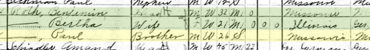 Paul Roth 1910 census Bois Brule Township MO