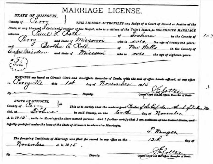 Paul Roth Bertha Roth marriage license