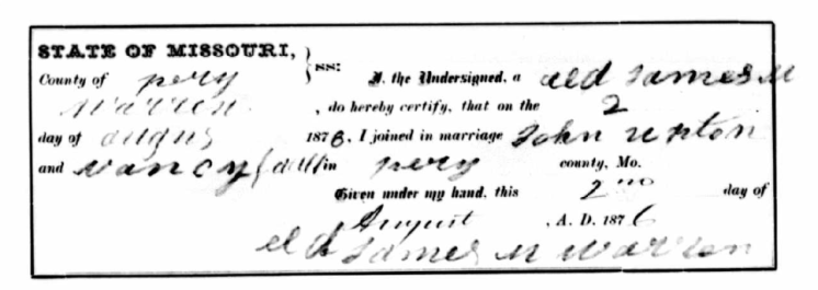 Upton Gault marriage record Perry County MO 1876