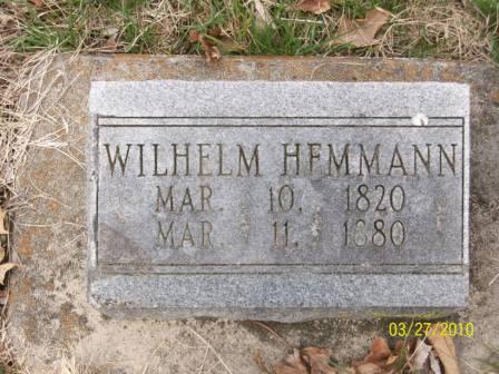 Wilhelm Hemmann gravestone Grace Uniontown MO