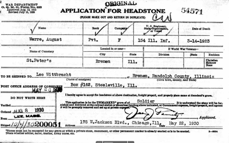 August Werre application for military headstone