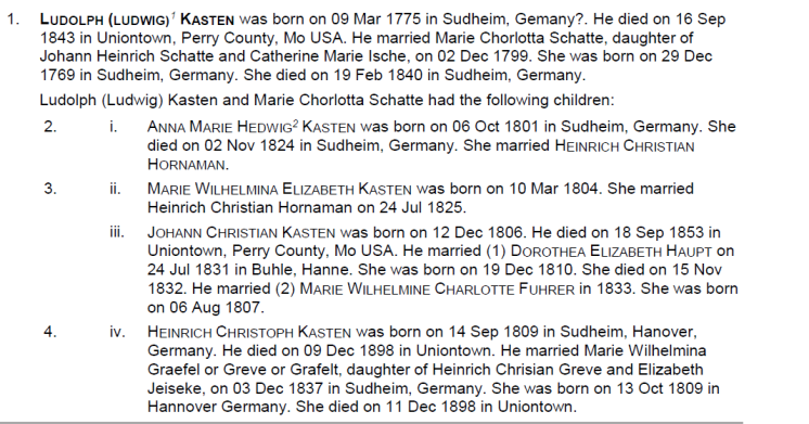 Early Kasten family information