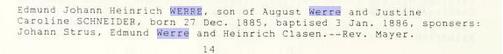 Edmund Werre baptism record St. Peter's Bremen IL