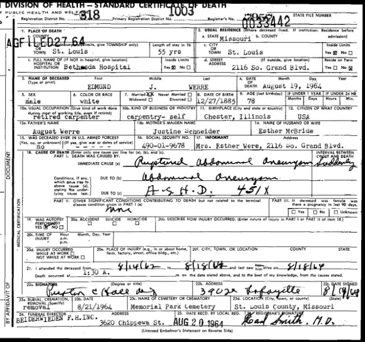 Edmund Werre death certificate