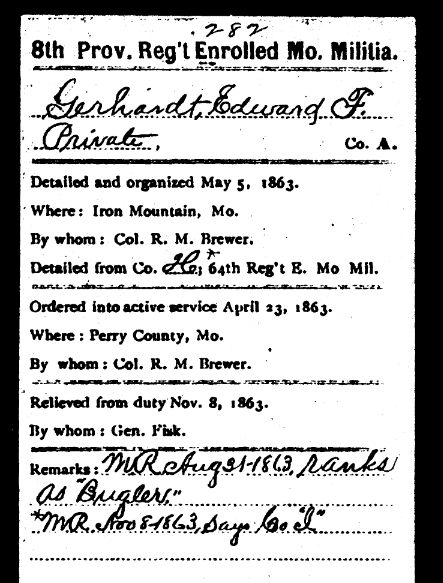 Edward Gerhardt Civil War record