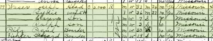 Joseph Waser 1930 census St. Louis MO