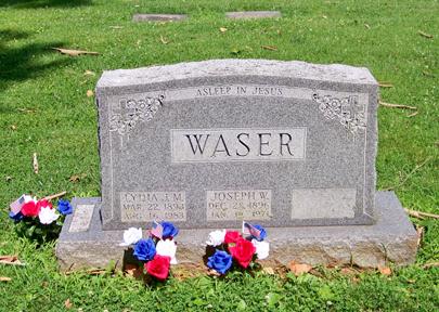 Joseph and Lydia Waser gravestone St. Trinity St. Louis MO