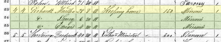 Martha Gerhardt 1870 census Altenburg MO