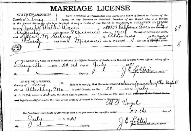 Waser Grebing marriage license