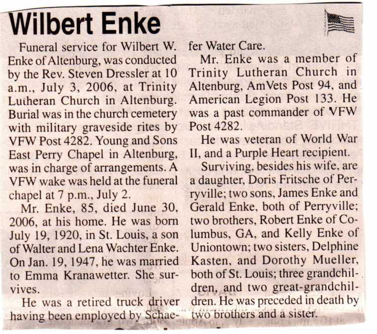 Wilbert Enke obituary