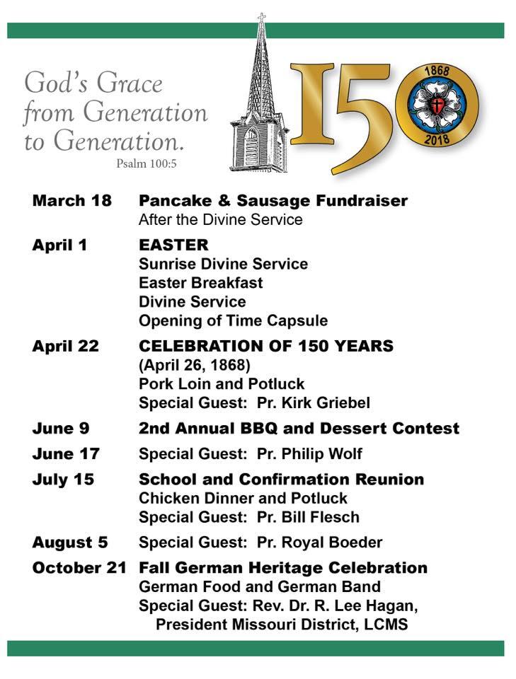 Zion Lutheran Prairie City anniversary schedule