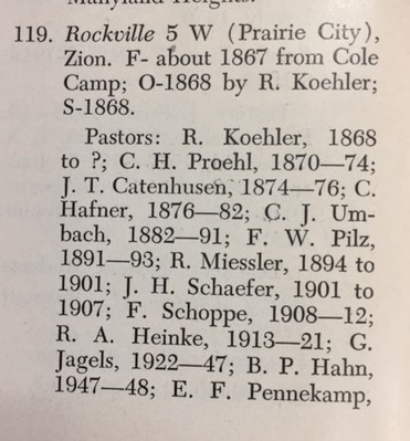 Zion Prairie City list of early pastors