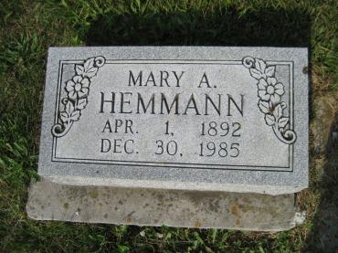 Anna Maria Hemmann gravestone Salem Farrar MO