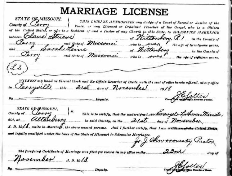 Claus Stueve Sarah Leine marriage license
