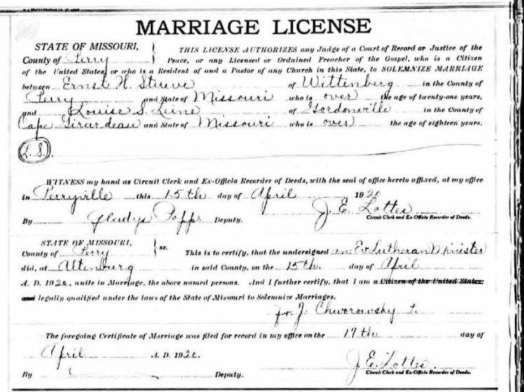 Ernst Stueve Louise Leine marriage license