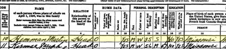 Martin Hemmann 1930 census Salem Township MO