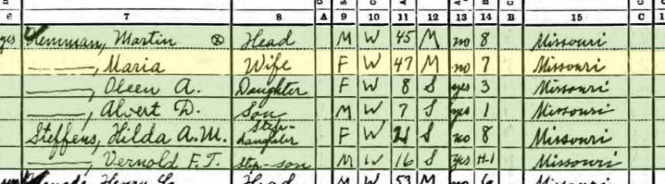 Martin Hemmann 1940 census Salem Township MO