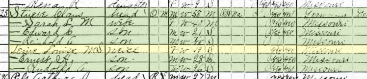Rudolph Stueve 1920 census Brazeau Township MO