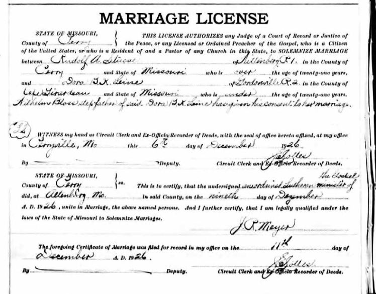 Rudolph Stueve Dorothea Leine marriage license