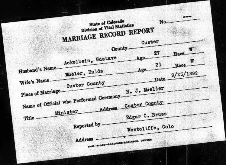 ackelbein mueller marriage record colorado