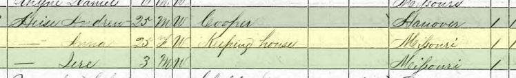 andreas heise 1870 census brazeau township mo