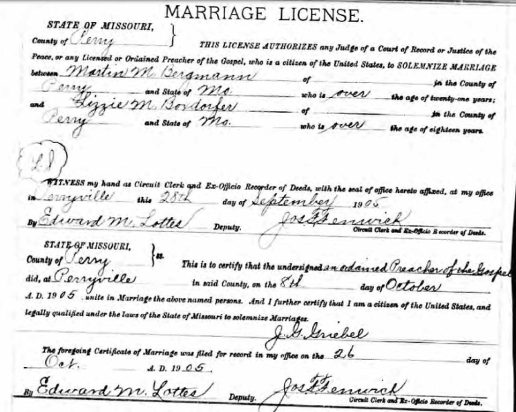 bergmann boxdorfer marriage license