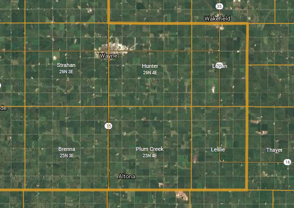 brenna and plum creek townships map wayne county ne