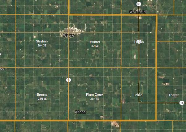 brenna and plum creek townships map wayne county ne