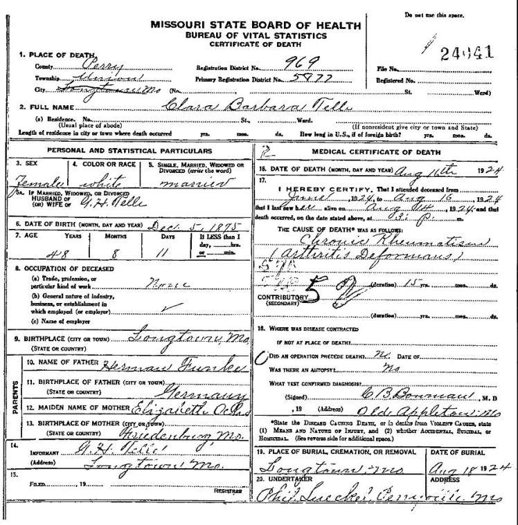 clara telle death certificate