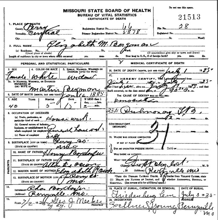 elizabeth bergmann death certificate