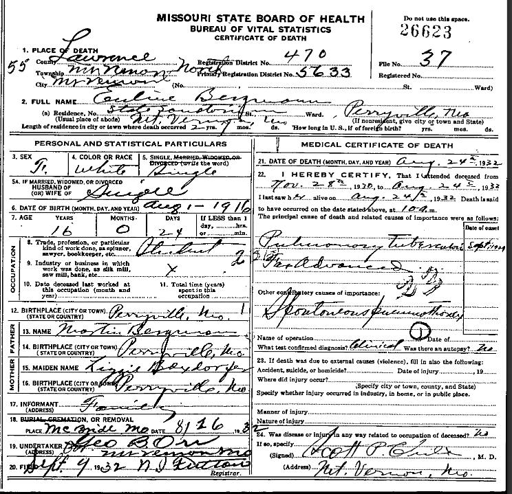 euline bergmann death certificate