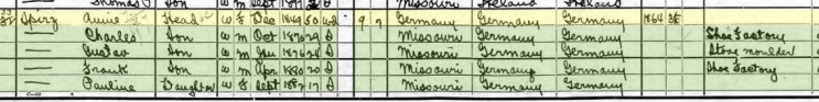 gustav spirz 1900 census st. louis mo