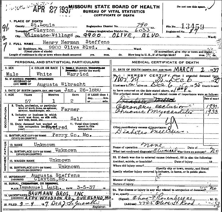 henry steffens death certificate