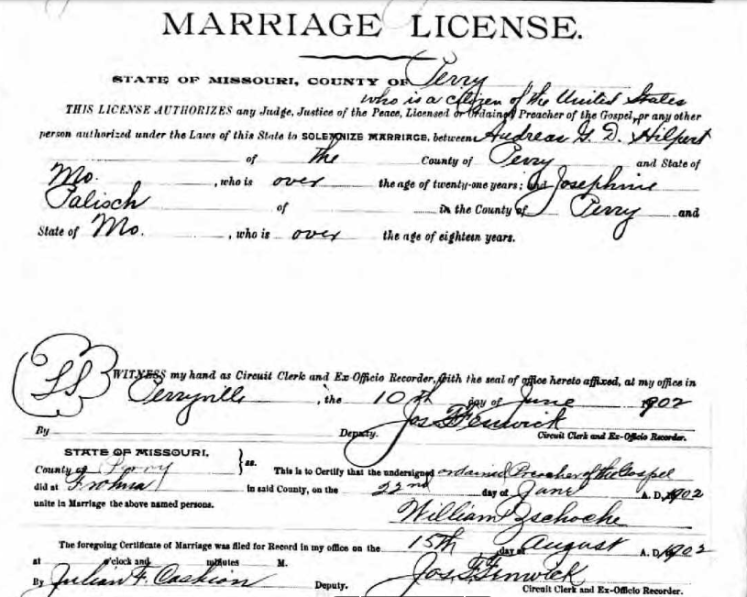 hilpert palisch marriage license