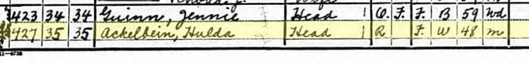 hulda ackelbein 1920 census canon city co