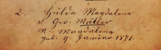 hulda mueller baptism record - trinity altenburg mo