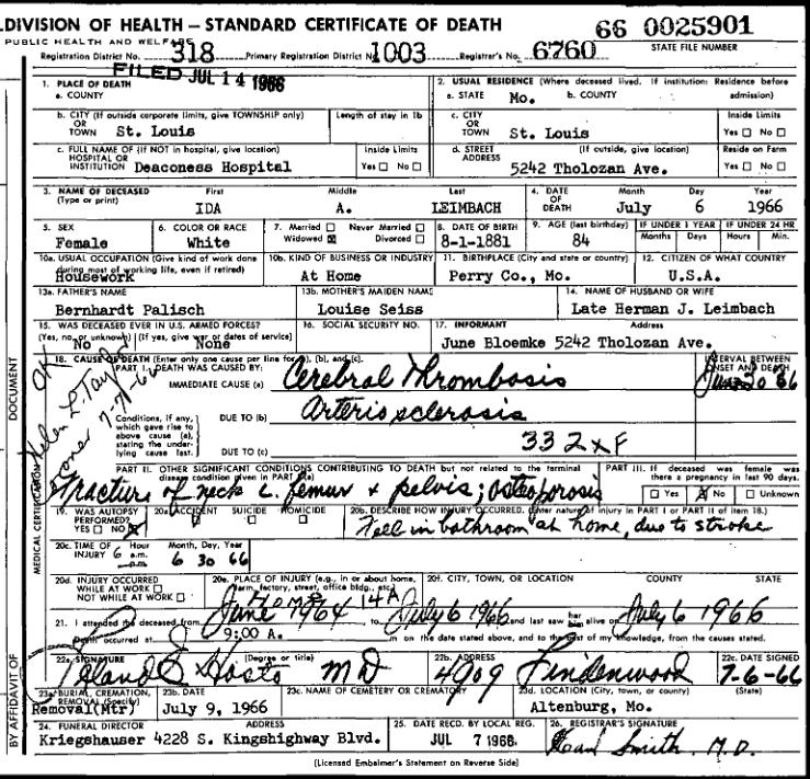 ida leimbach death certificate