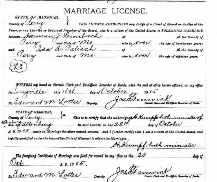 leimbach palisch marriage license