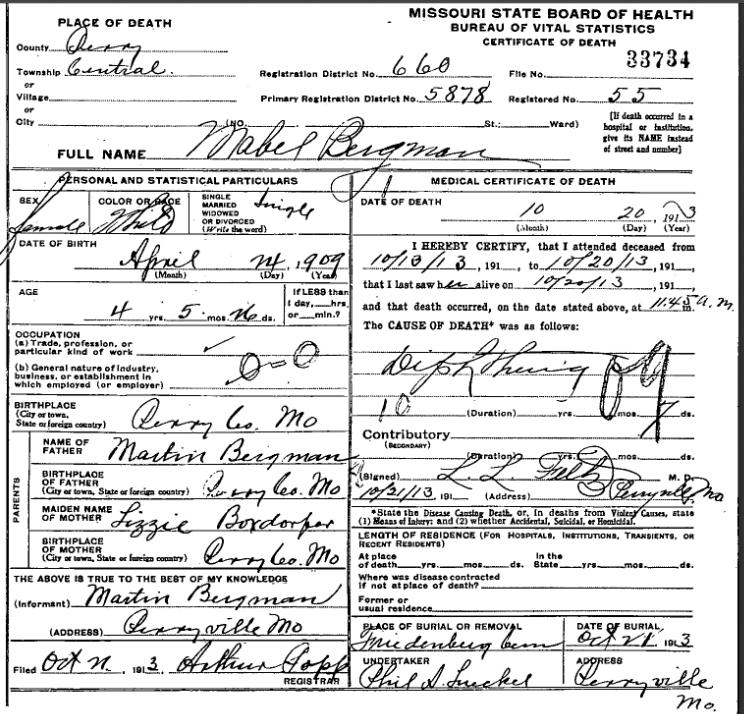 mabel bergmann death certificate