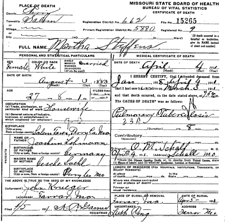 martha steffens death certificate