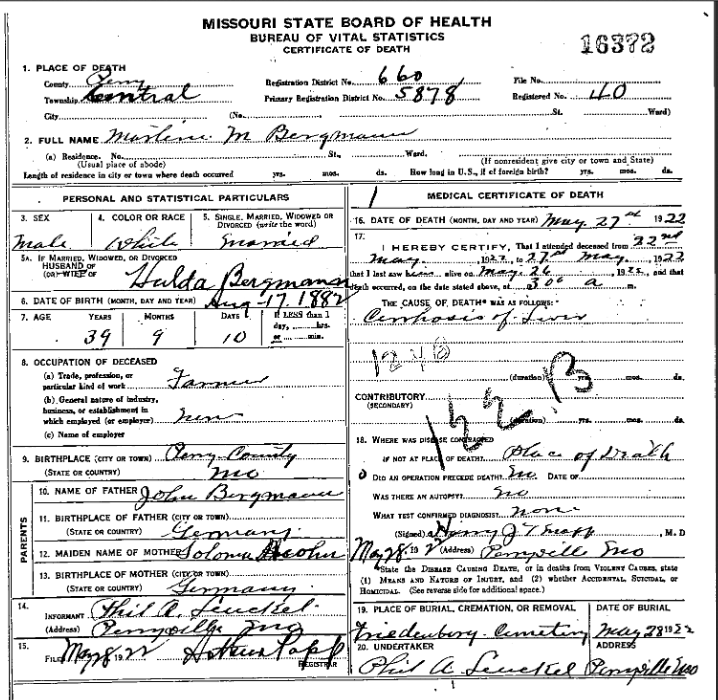 martin bergmann death certificate