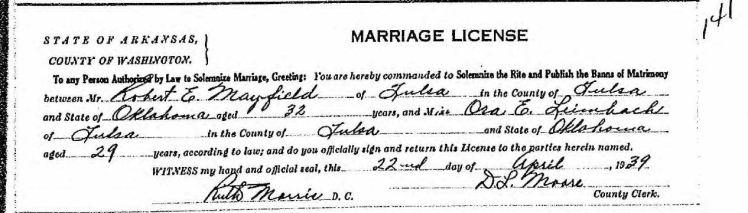 mayfield leimbach marriage record tulsa ok