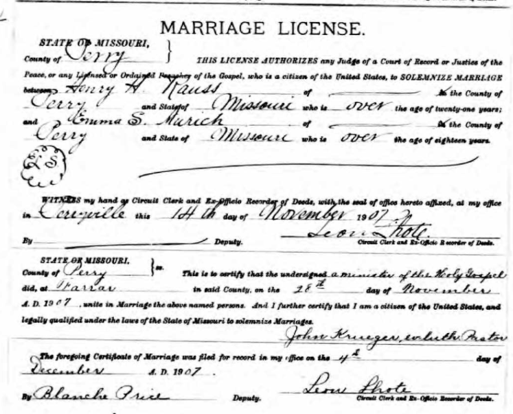 rauss aurich marriage license