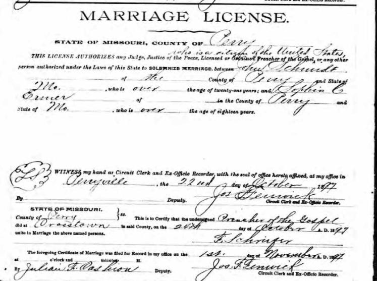 schmidt ermer marriage license