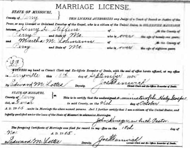 steffens lohmann marriage license