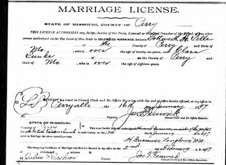 telle funke marriage license
