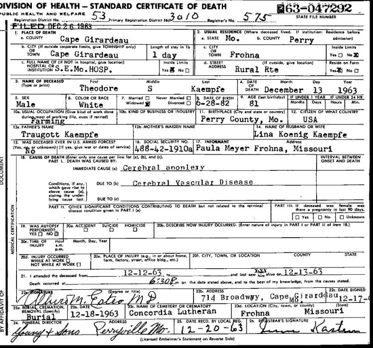 theodore kaempfe death certificate