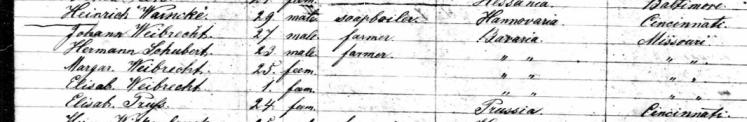 weibrecht schubert passenger list ocean 1866