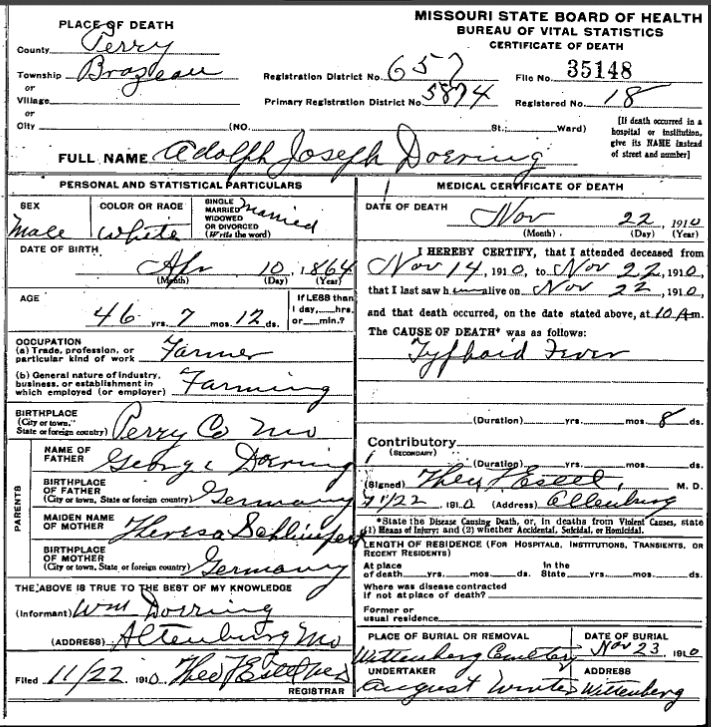 Adolph Doering death certificate